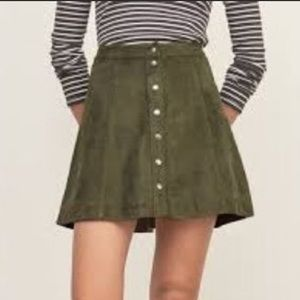 Faux suede leather mini skirt